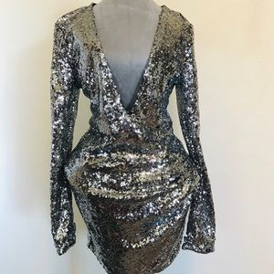 Silver Sparkle Holiday Party Dress